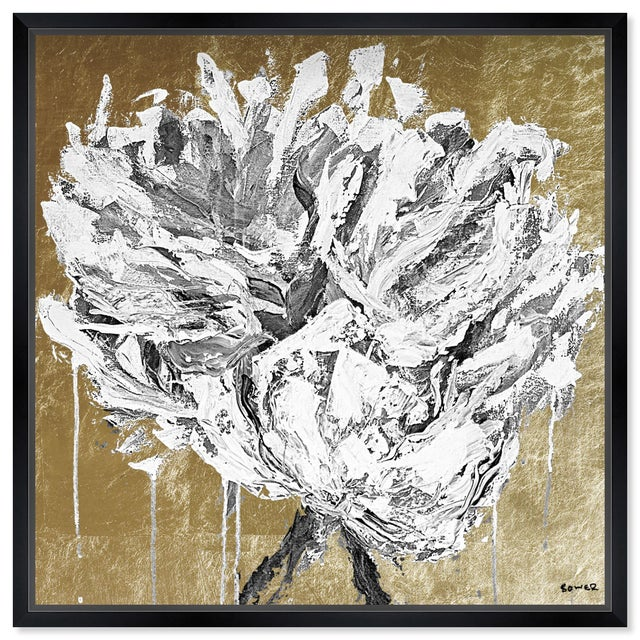 """Oliver Gal Large 'Claire Sower - Leave It Behind Gold and White' Framed Art 26"""" x 26"""" For Sale In Miami - Image 6 of 6"""
