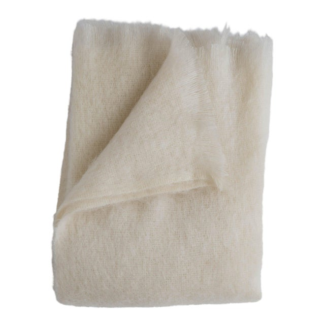 Mohair Throw in Pearl For Sale