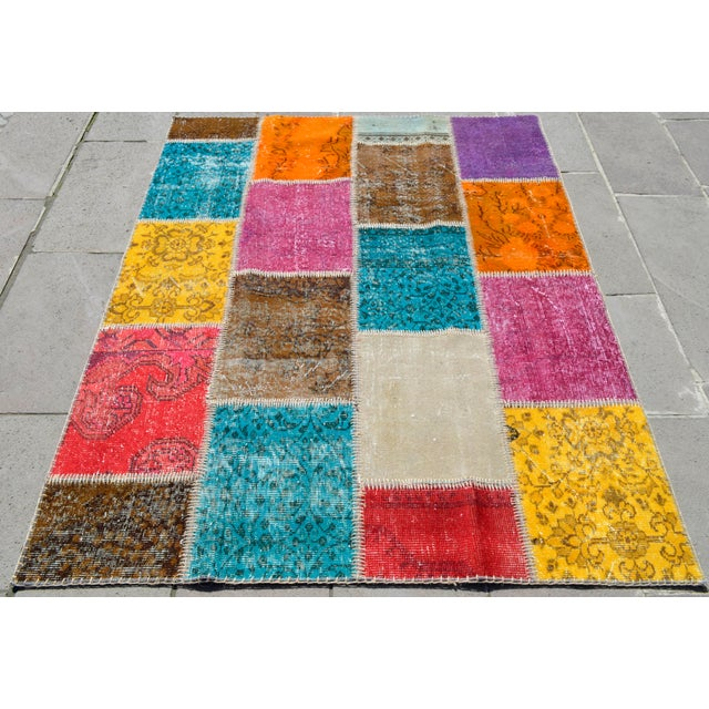 Boho Chic Turkish Handmade Patchwork Rug - 4′7″ × 5′9″ For Sale - Image 3 of 8