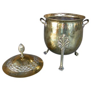 A Handsome and Boldly-Scaled English Neoclassical Style Brass Ovoid-Shaped Two-Handled Covered Coal Bucket For Sale