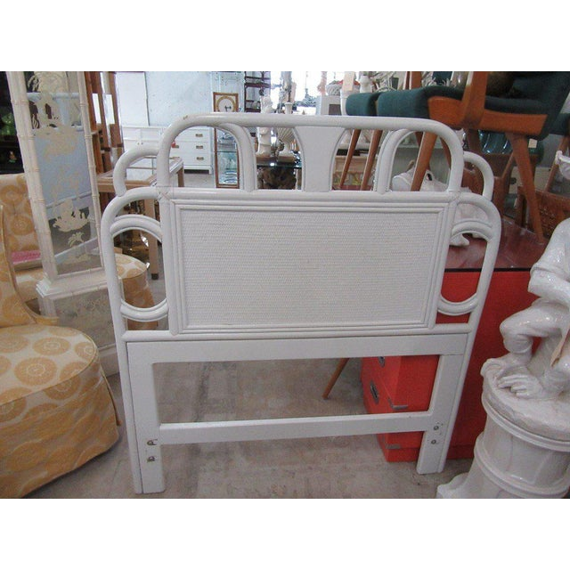 Ficks Reed White Rattan Twin Headboards - a Pair - Image 5 of 7