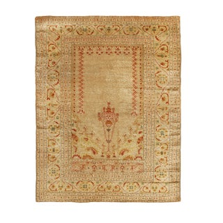 Antique Tabriz Beige and Red Persian Wool Rug- 3′11″ × 5′3″ For Sale