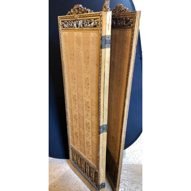 Early 20th Century Louis XVI Style 3-Panel Folding Screen / Room Divider With French Tapestry For Sale - Image 5 of 13