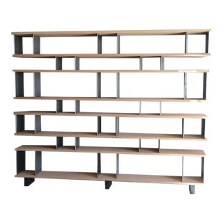 "Contemporary Design Frères Large ""Horizontale"" Oak and Brushed Steel Shelving Unit For Sale"