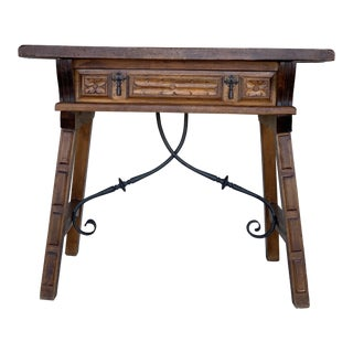 Spanish 1880s Walnut Side Table or Lady Desk, Carved Legs and Iron Stretcher For Sale