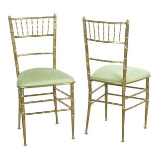 Pair of Mid Century Italian Newly Upholstered in Velvet Brass Chiavari Chairs