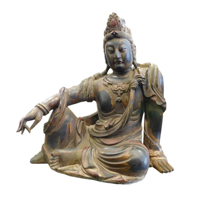 Distressed Golden Black Wood Kwan Yin Statue - Image 3 of 10
