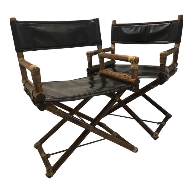 McGuire Director Folding Chairs - Pair For Sale