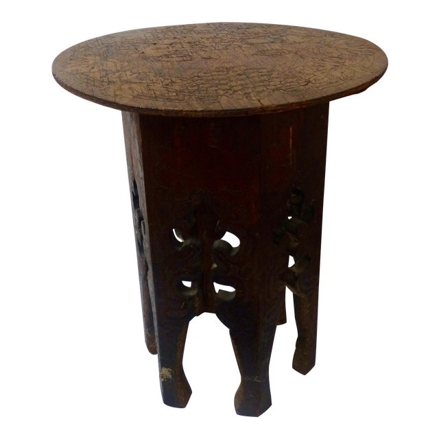 Pyrography Wooden Side Table For Sale