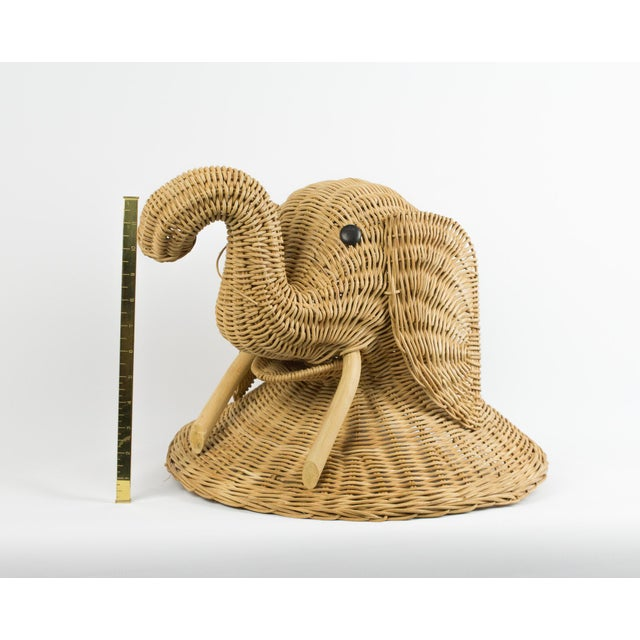 Brown 1970s Boho Chic Wicker Elephant Faux Taxidermy Wall Hanging For Sale - Image 8 of 9