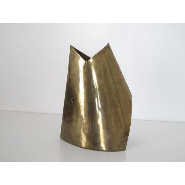 Unmarked Asymmetrical Brass Vase - Image 9 of 11