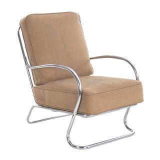 Art Deco Chrome Arm Lounge Chair by Kem Weber for Lloyd Circa 1940s For Sale