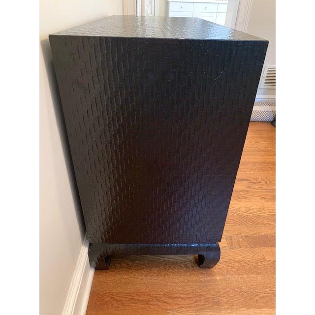 Metal Baker Grasscloth Black Lacquered Ming Cabinet For Sale - Image 7 of 10