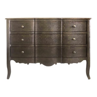 Contemporary Plume Pressed Tin 3 Drawer Chest by Arhaus Furniture For Sale