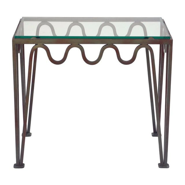 """Glass Contemporary """"Méandre"""" Verdigris Iron and Glass Side Table For Sale - Image 7 of 7"""