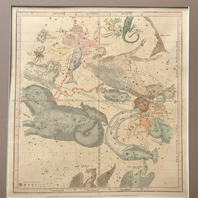 19th C. Antique Pair of Constellation Chart/ Celestial, Astrological Maps by Burrit 1835 For Sale - Image 4 of 13