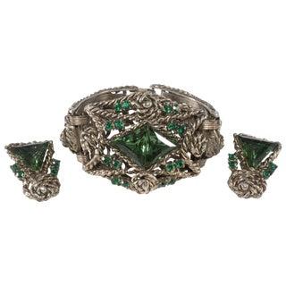1950s Bracelet Earrings Set Chunky Green & Gold Rhinestone Wide Vintage For Sale