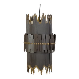 Brutalist Metal Pendant Lamp For Sale