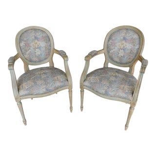 Vintage French Louis XVI Style Arm Chairs - a Pair For Sale