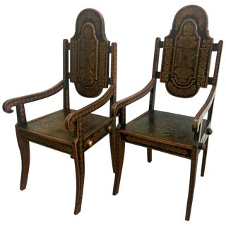 19th Century Hand-Painted Moroccan Armchairs - A Pair