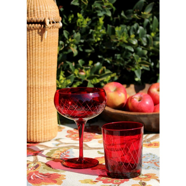 Antique Cut Cranberry Wine Goblets & Lowball Glassware, Set of 16 For Sale In Los Angeles - Image 6 of 7