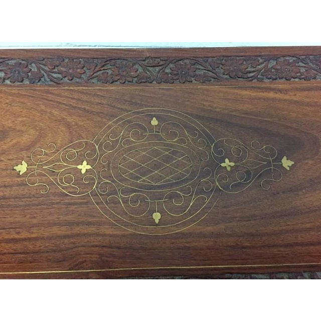 Pair of Vintage Mahogany and Brass Inlay Campaign Chests For Sale - Image 4 of 9