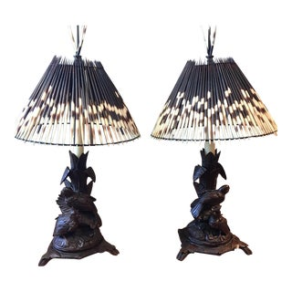 Antique Black Forest Table Lamps - a Pair For Sale