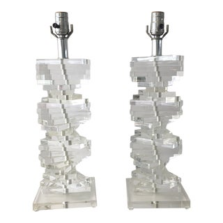 1970s Lucite Twist Table Lamps - a Pair For Sale