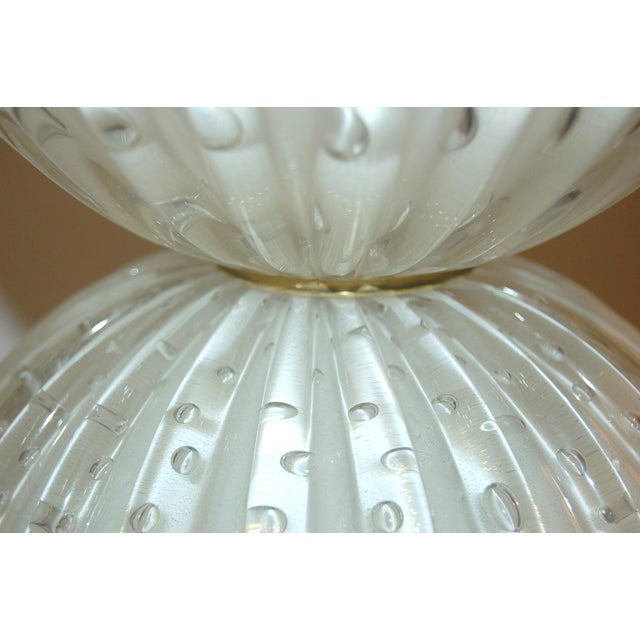 Glass Murano Glass Stacked Ball Table Lamps White Gold Bubbles For Sale - Image 7 of 11