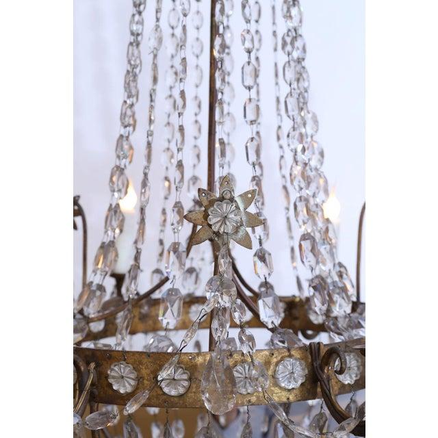 19th Century Neoclassical Gilt-Iron Chandelier For Sale - Image 4 of 13