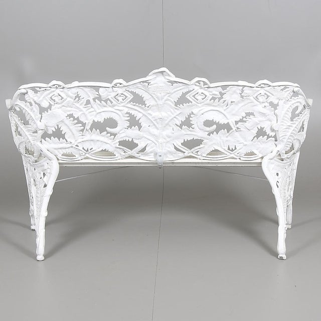 Swedish Park Garden Steel Bench Settee For Sale - Image 4 of 7