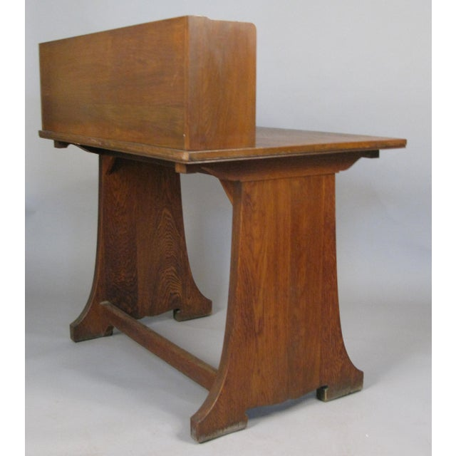 Wood Antique Arts & Crafts Oak Desk From Harvard Divinity School For Sale - Image 7 of 8