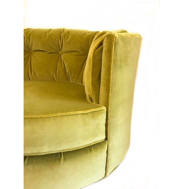 Vintage Chartreuse Velvet Club Chairs - a Pair - Image 2 of 5