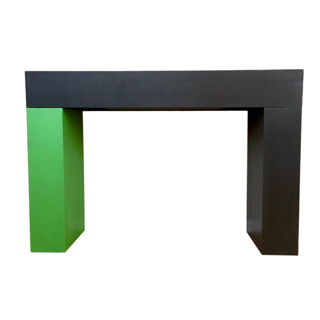 Wood Modern Color Blocked Console Table For Sale - Image 7 of 7