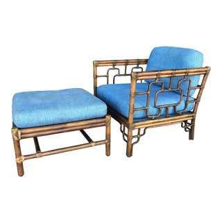 McGuire Chinoiserie Rattan Chair and Ottoman For Sale