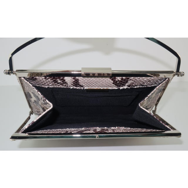 Silver Vintage Neiman Marcus Python Printed Leather Handbag With Silver Handle For Sale - Image 8 of 12