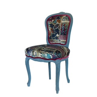 Bohemian Vintage Traditionally Upholstered Louis French Chair For Sale