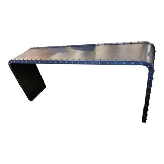 Industrial Iron Rivet Console Table For Sale