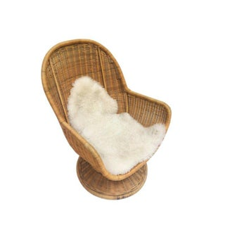 1980s Vintage Sculpted Rattan Egg Chair Swivel Wicker Club Chair Preview