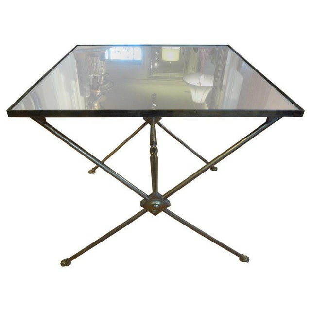 Metal 1940's French Neoclassical Style Brass Side Table For Sale - Image 7 of 8