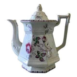 Aesthetic Movement Victorian Teapot With Violet Flowers For Sale