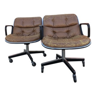 Charles Pollock for Knoll Associates Tan Leather Office Chairs - A Pair For Sale
