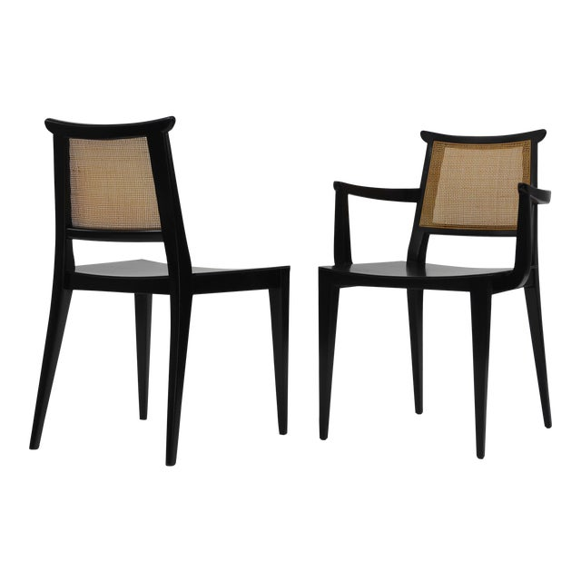 Twelve Asian Dining Chairs by Edward Wormley for Dunbar For Sale