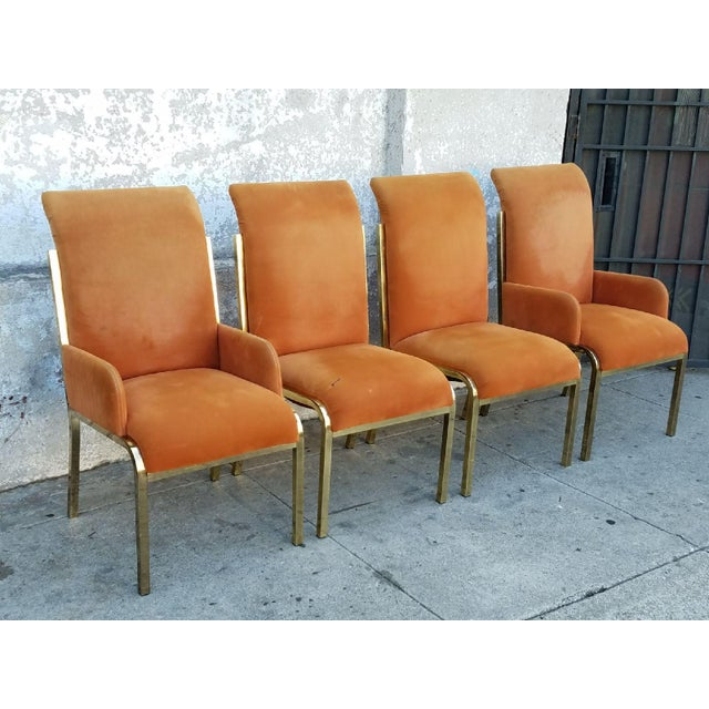 Vintage Brass & Velvet Dining Chairs - Set of 4 - Image 4 of 7