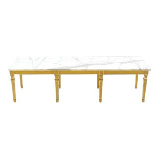 Eight Legged Marble-Top Long Rectangular Coffee Display Table For Sale