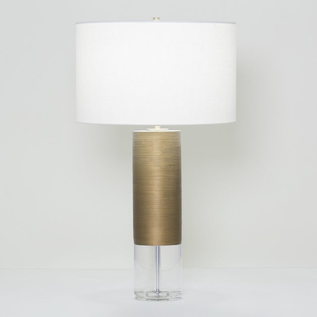 """31.25""""H - 150W 3-way crystal - resin, antique brass finish Shade: off-white linen; 17.75""""ø x 11""""H"""