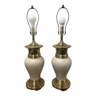 Vintage White Ceramic & Brass Hollywood Regency Table Lamps - a Pair For Sale