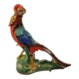 Vintage 1960s Barsottini Vino Rosso Golden Pheasant Bird Decanter Boccacio Italy For Sale