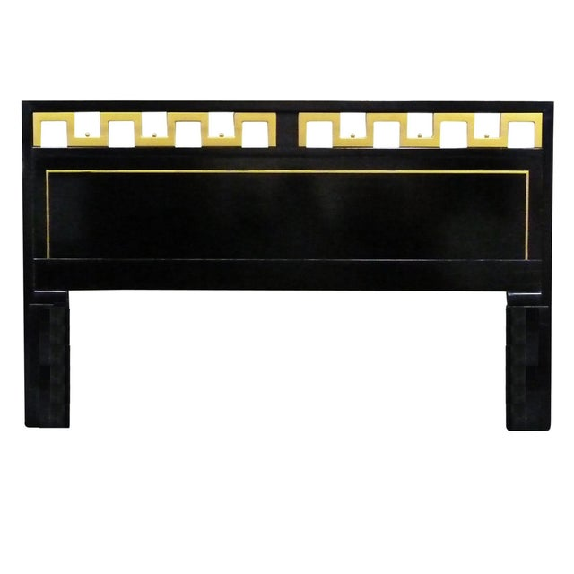 Wood Greek Key Black & Gold Lacquered King Headboard For Sale - Image 7 of 7