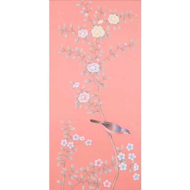 Hand-painted on sensuous rose blush silk, this pair of diptych panels feature traditional Chinoiserie style botanicals and...